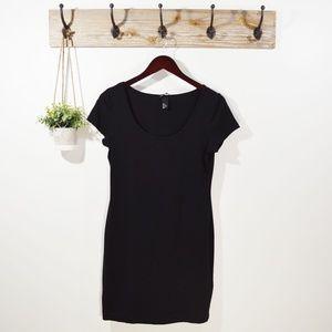 H&M BASICS Black Short Sleeve Casual Shirt Dress M